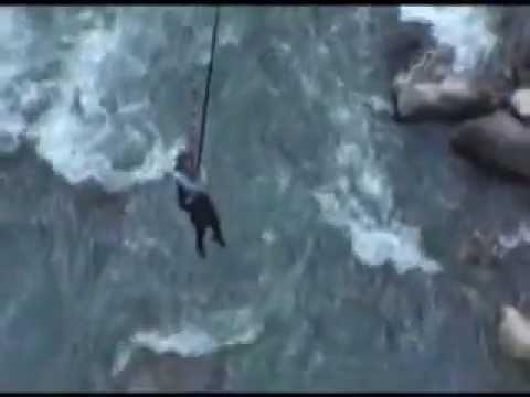 Lidwien's Canyon swing Jump in Nepal, 2012