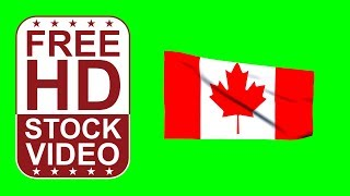 ..) FREE HD video backgrounds –Canada flag waving on green screen – 3D animation
