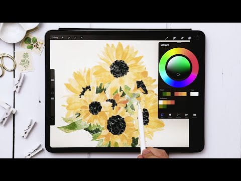 Paint Easy Watercolor Sunflowers in Procreate