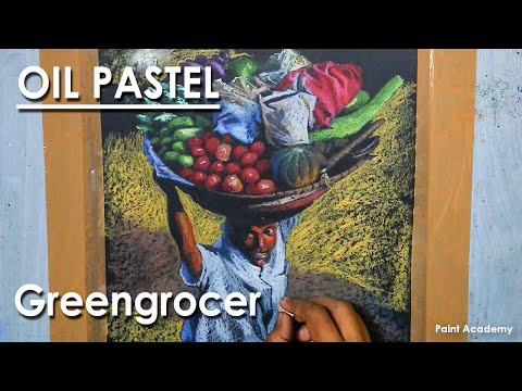 Oil Pastel Drawing : A Composition on Greengrocer