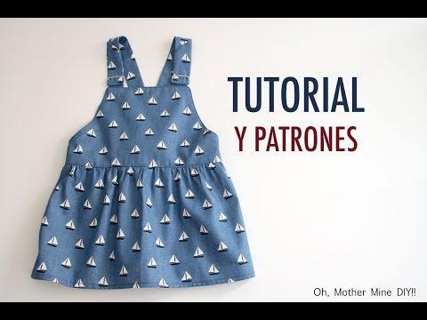 Patrones vestido tipo pichi vaquero para niñas (patrones hasta talla 7 años)
