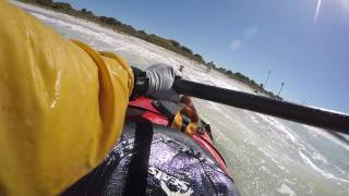 Kayaking surfing at Ft. Desoto Beach, St. Petersburg,FL - GOPR5706
