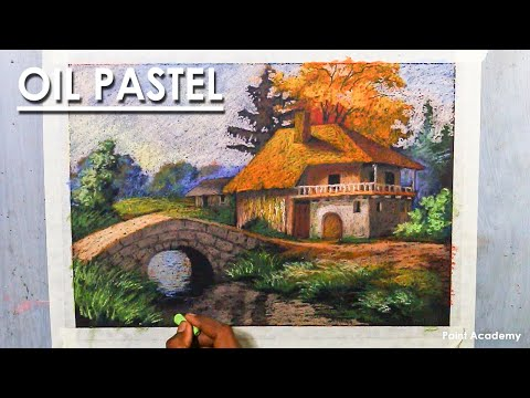 Oil Pastel Drawing : A Beautiful Cottage in the Village