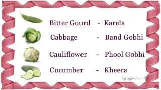 Learn Hindi through English - Vegetables in Hindi
