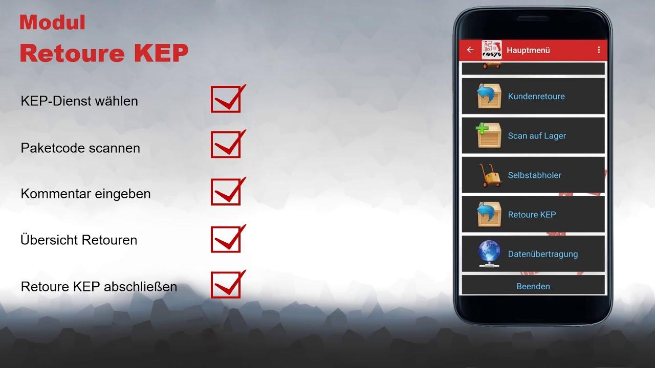 Retoure an KEP Diensten erfassen | COSYS Pakettransport App