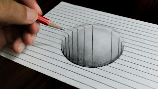 Round Hole on line Paper - Easy 3D Trick Art Drawing