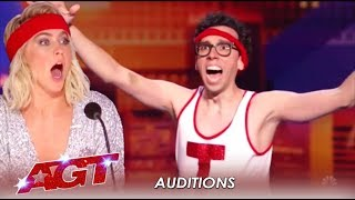 Jonathan Burns: Comedian, Cortortionist and AWKWARD! LOL! | America's Got Talent 2019