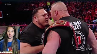 WWE Raw 7/10/17 Brock Lesnar confronts Roman Reigns and Samoa Joe