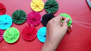 DiY : Wall Hanging Craft Ideas || How to make wall hanging with cloth and bangles width=