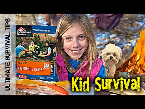 """Kid"" Survival - Lilly and Dad - Build Bushcraft Camp for Beginners - V1"
