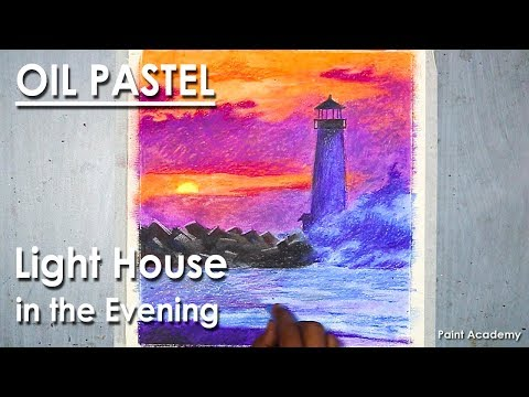 A Light House in the Evening- Oil Pastel Drawing