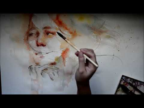 Speed Up Watercolor Portrait Painting - One Sided Love