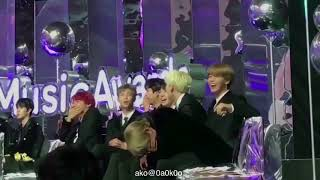 Taehyung choked on his water when 'even if i die it's you' started playing  At MMA 2017