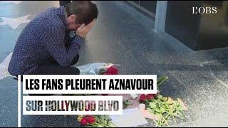 Les fans se recueillent sur l'étoile d'Aznavour à Hollywood