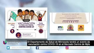 El MDH tendrá un evento de vacunación contra COVID-19 en el Mercado Central de Mpls
