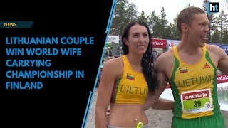 Lithuanian couple win World Wife Carrying Championship in Finland