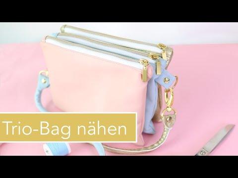 Trio Bag nähen aus Kunstleder – 3 verbundene Taschen als Handtasche
