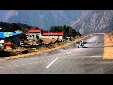 恐怖! ネパール・ルクラ空港への着陸 [機外編]  The landing on the Lukla Airport
