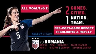 "USWNT v. Romania - ALL Goals Clip (Link to ALL 9 in Vid/Below/At ""USWNT Classics"") - 11-10-16"