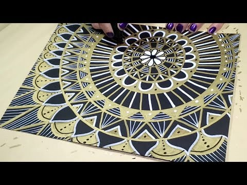 Drawing a Gold and White Mandala on Black Paper by BeCre8ive2