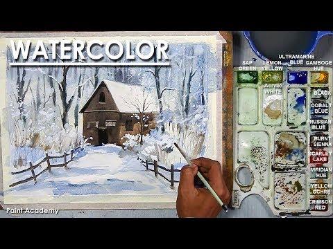 Barn in the Woods- Watercolor Painting step by step | Artist- Composer: Supriyo