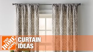 A video featuring curtain ideas for the kitchen, living room, bedroom and bathroom.