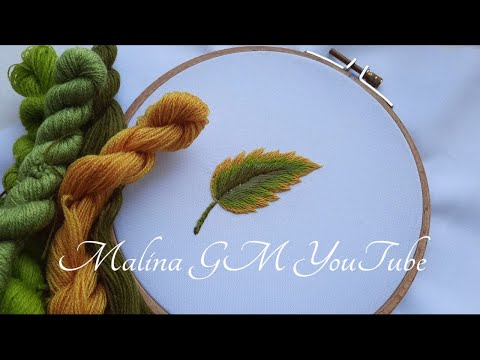 Yellow Green Leaf   Long and Short Stitches   Art Embroidery   in detail