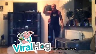 Download video: Man Throws Aerosol Can In Wood Stove