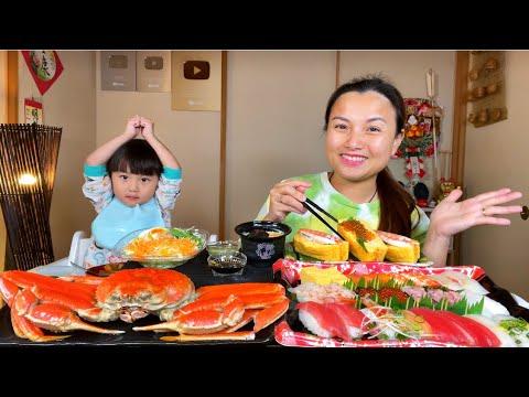 Cua tuyết,sushi & sup trứng tôm hấp kiểu Nhật mừng ng.ay Bé Gái ?#843