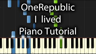OneRepublic - I Lived Tutorial (How To Play on Piano)
