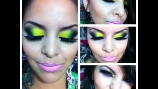 Yellow Green and Black eyeshadow tutorial (28 Neon Palette)