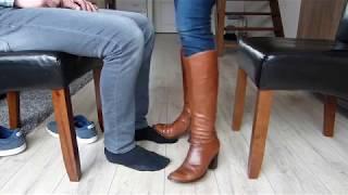 Tan Boots Dominating Man In Socks