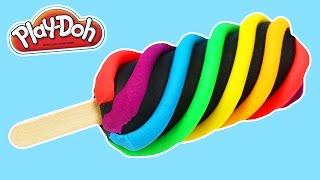PLAY DOH Rainbow Swirl Popsicle DIY  | LEARN COLORS Play Dough Rainbow Activity!