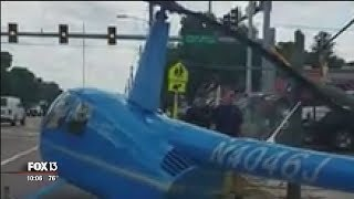 Drivers watch as helicopter crashes on Tampa roadway, killing motorist