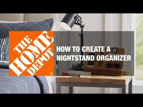 A video details how to build a nightstand organizer.
