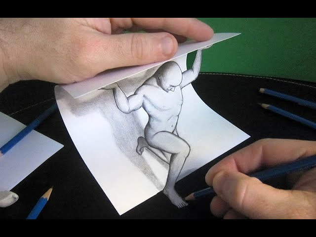 Download Thumbnail For 3d Trick Art How To Draw A Man