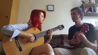 Sasha and Sveta - To the moon and back (Savage Garden guitar and ukulele duo cover)