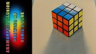 Anamorphic Illusion Drawing 3D Rubik's Cube Realistic #Ambrojordiart
