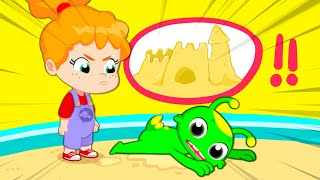 New episode! Groovy The Martian | Learn colors and shapes with a giant sandcastle at the sandbox