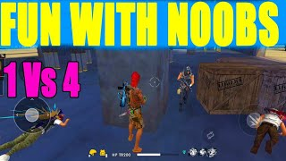 FUN WITH NOOB IN SOLO VS SQUAD RANK MATCH||  FREE FIRE FUN MARCH|| RUN GAMING