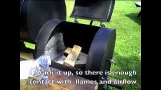 woodfire start and maintain on offset smoker