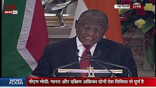 Joint press statement by PM Shri Narendra Modi and South African President at Hyedrabad House