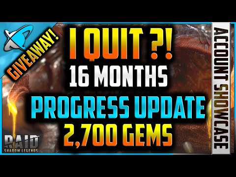 **I QUIT** !! 16 Months F2P Progress | 2,700 Gems Giveway !! | RAID: Shadow Legends