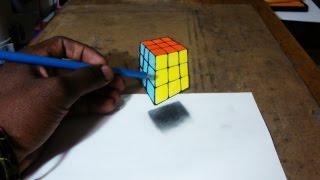 3D Rubik's Cube Drawing Illusion