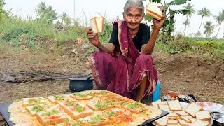 My 105 years Grandma's Yummy bread omelette | World Best Egg omelette | Country Foods