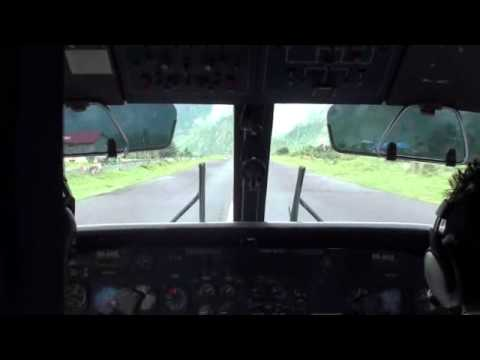 Taking off from Lukla Airport; Cockpit View