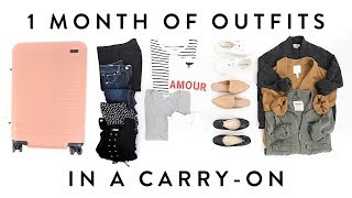 1 MONTH of OUTFITS in a Carry-On Suitcase | TRAVEL CAPSULE Wardrobe | Miss Louie