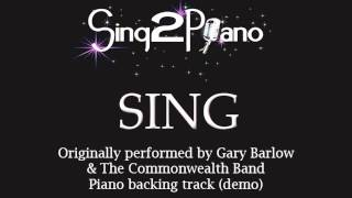 SING - Gary Barlow & The Commonwealth Band (Piano backing track) karaoke cover