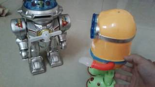 Robot Star Defender and Minion dancing funny