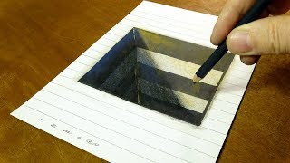 Easy Drawing Square Hole on Line Paper - How to Draw 3D Hole for Kids - By Vamos